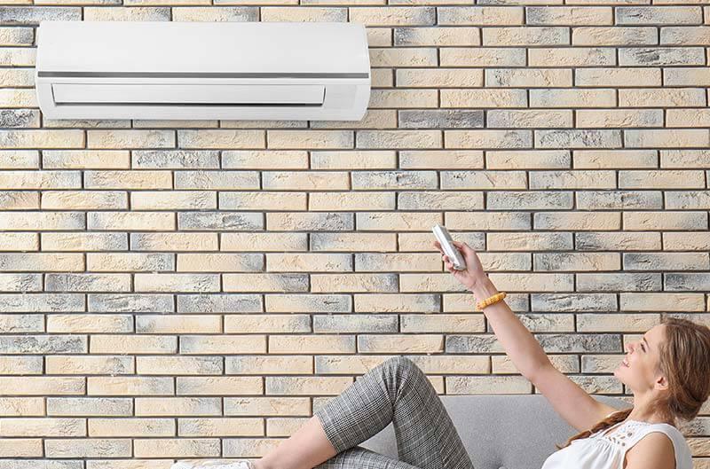 Dame genießt Ihren Kauf von Klimaanlage